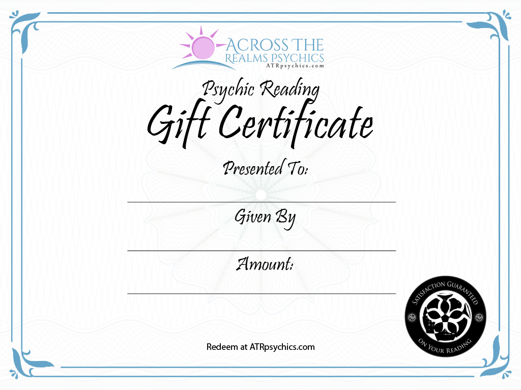 Psychic Reading Gift Certificate  Gift Certificate Download