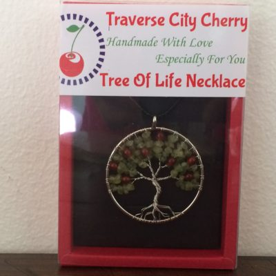 Cherry Tree Of Life Necklace, Heart Chakra, handmade spiritual gifts traverse city Michigan