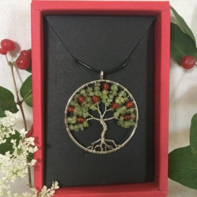 Cherry Tree of Life Stone Pendent Necklace, Spiritual Handmade Gifts In Traverse City