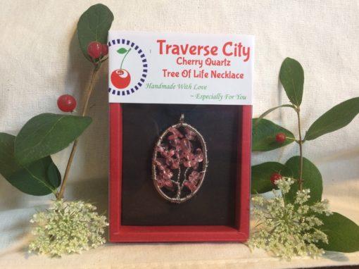 Handmade Cherry Quartz Tree Of Life Necklace Pendent I Spiritual Gifts from Traverse City, Michigan